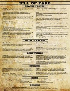Bill of Fare - Dinner