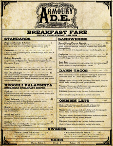 Bill of Fare- Brunch