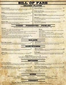 Bill of Fare- Dinner